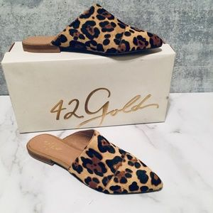 42 Gold Castle Leopard Faux Calf Hair Mule 7.5